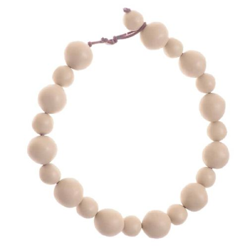 Jackie Brazil Matt Finish Abstract Short Balls Necklace in Boheme Natural Beige